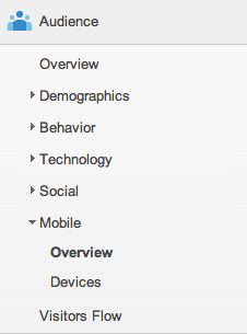 In Google Analytics, go to Audiences > Mobile > Overview