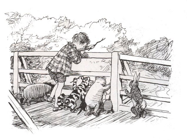 Christopher Robin, Winnie the Pooh, and friends playing Pooh Sticks