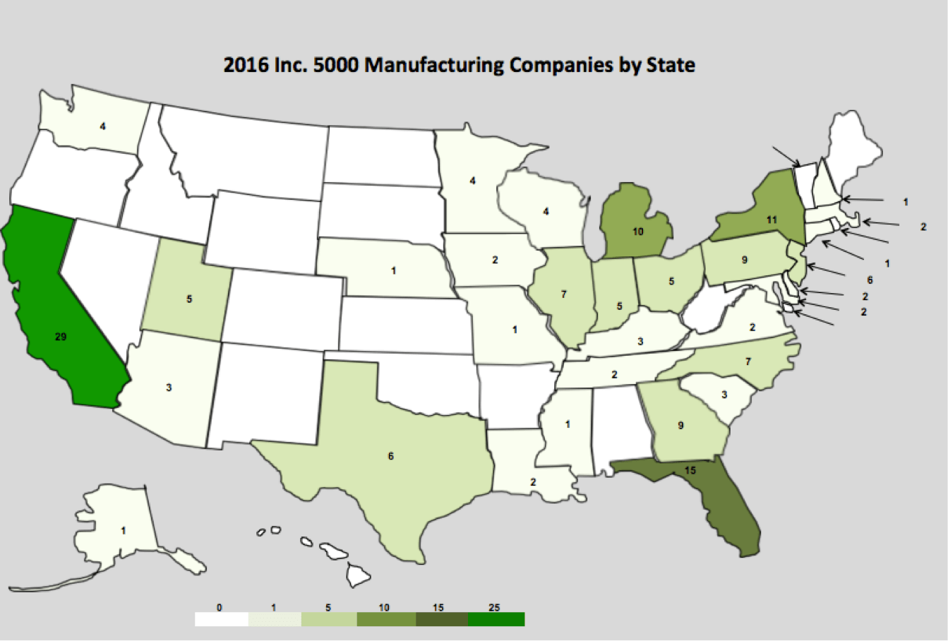 Inc. 5000 Manufacturing Companies by State