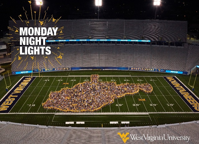 WVU's freshman class gathered on Mountaineer Field